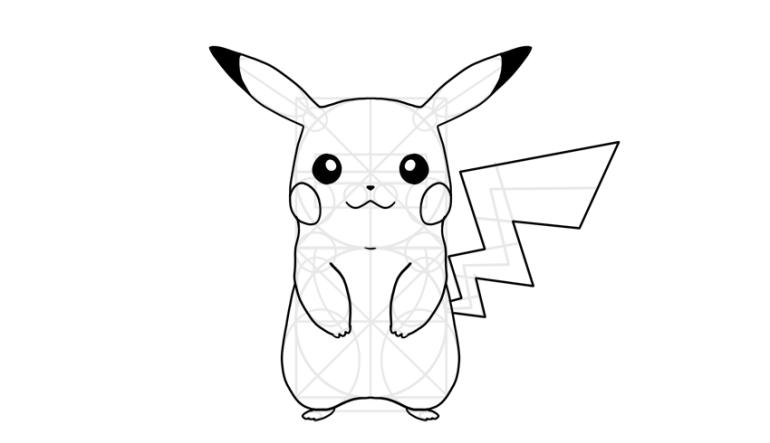 outline pikachu details