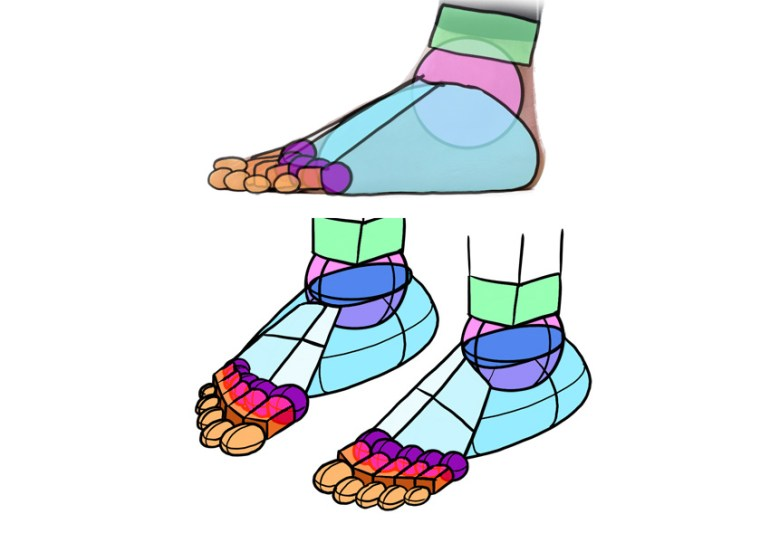 toes shapes in perspective