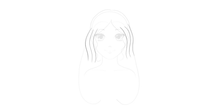 sketch top of wavy hairstyle