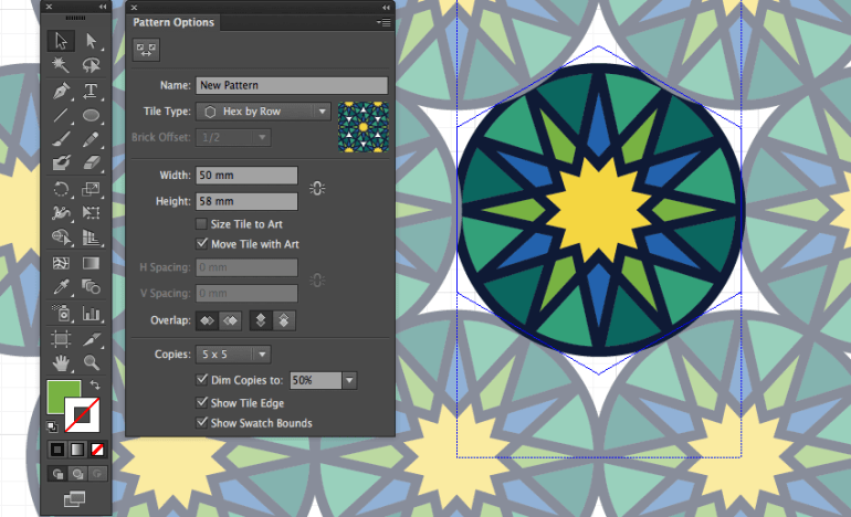 adobe illustrator make pattern hex by row tile pattern eid greeting width height adjust layout