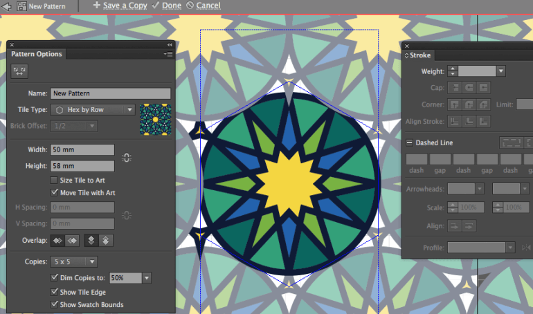 adobe illustrator save pattern to edit swatches panel adjust artwork modify control panel eid fitr holiday card