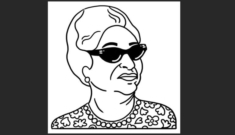 Use Adobe Photoshop Brush Tool to sketch Oum Kulthoum