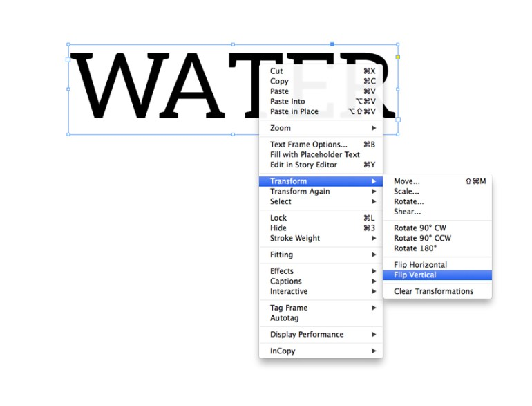 flip vertical in indesign