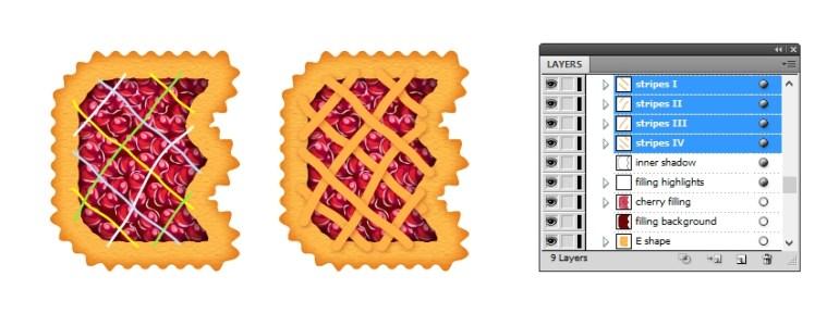 create lattice top on letter E