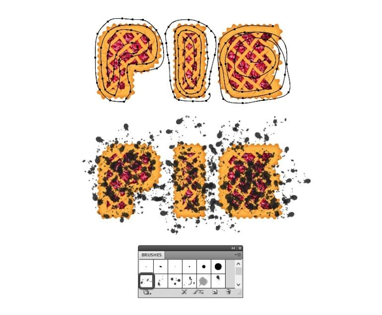 add black splats on pie letters