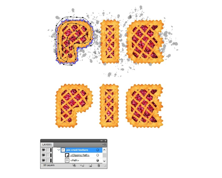 mask splats around the pie letters