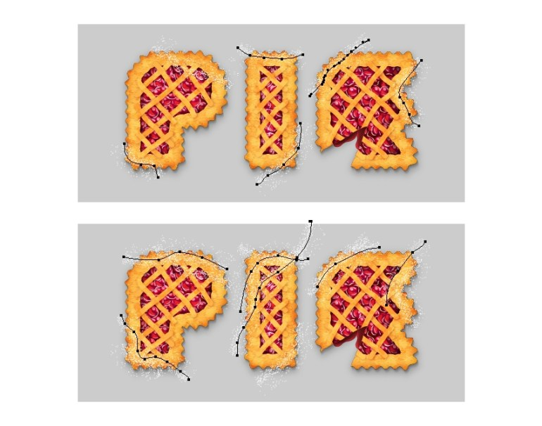 add more powdered sugar on pie letters