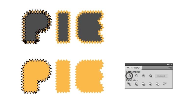 unite border to pie letters