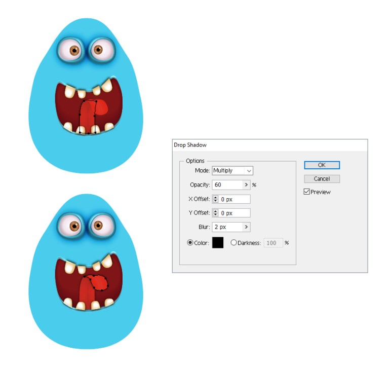 how to add shadow to the monsters tongue