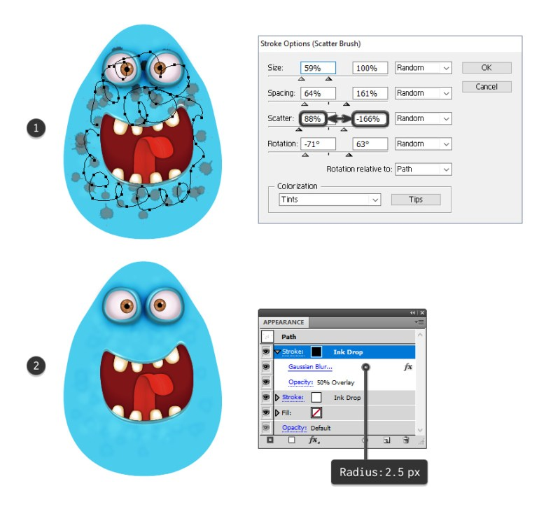 how to add dark spots on the monsters body