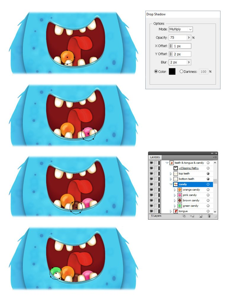 how to arrange candy inside monsters mouth