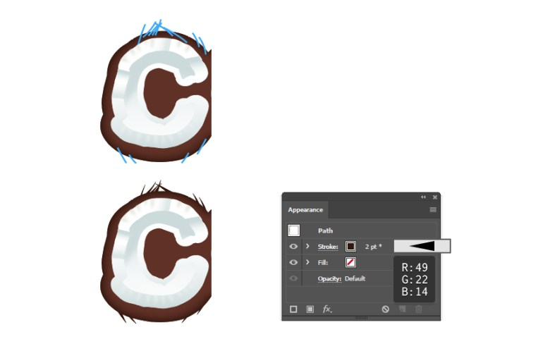 how to create fibers on the coconut shell for letter C