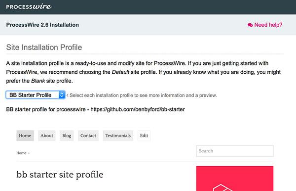 ProcessWire installation 2 - choose site profile