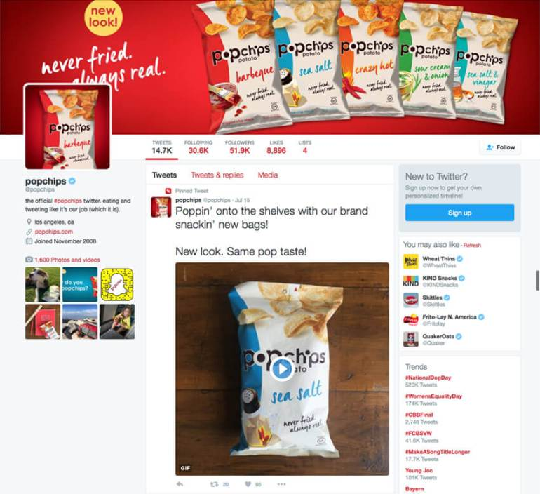 Popchips keeps things light with its Twitter bio
