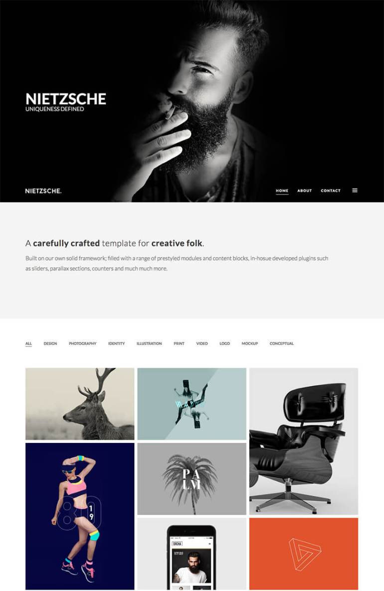 Nietzsche Creative Minimal WordPress Portfolio Theme