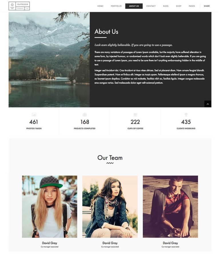 Outdoor Minimal Creative Portfolio WP Theme