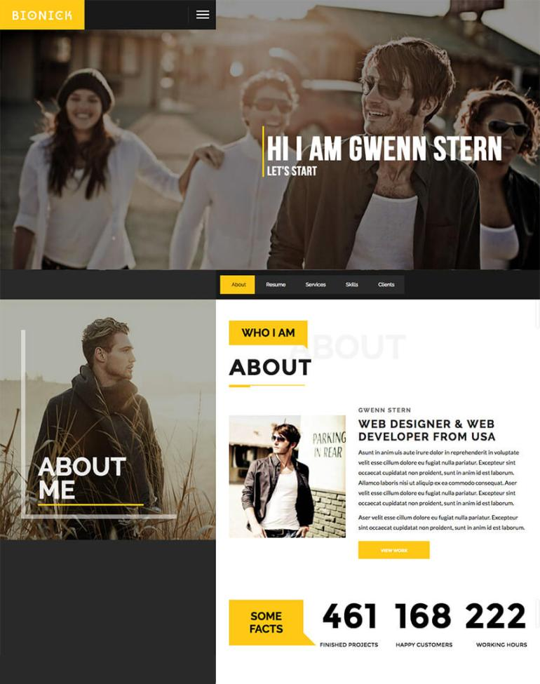 Bionic Personal Resume Portfolio WordPress Theme