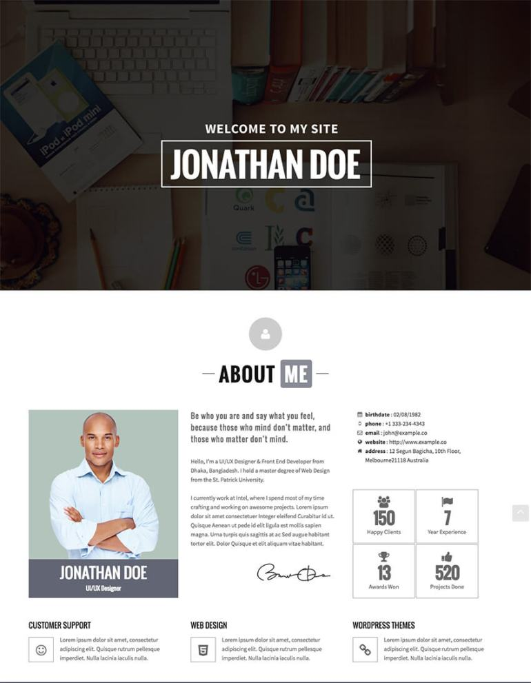 Identity Personal vCard Resume CV WP Theme