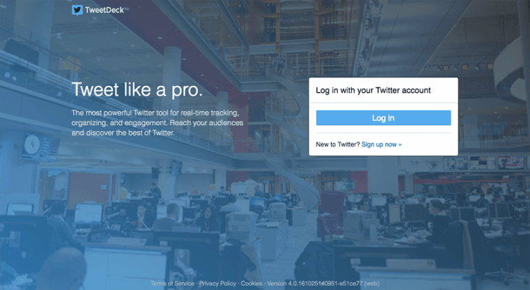 TweetDesk Login page