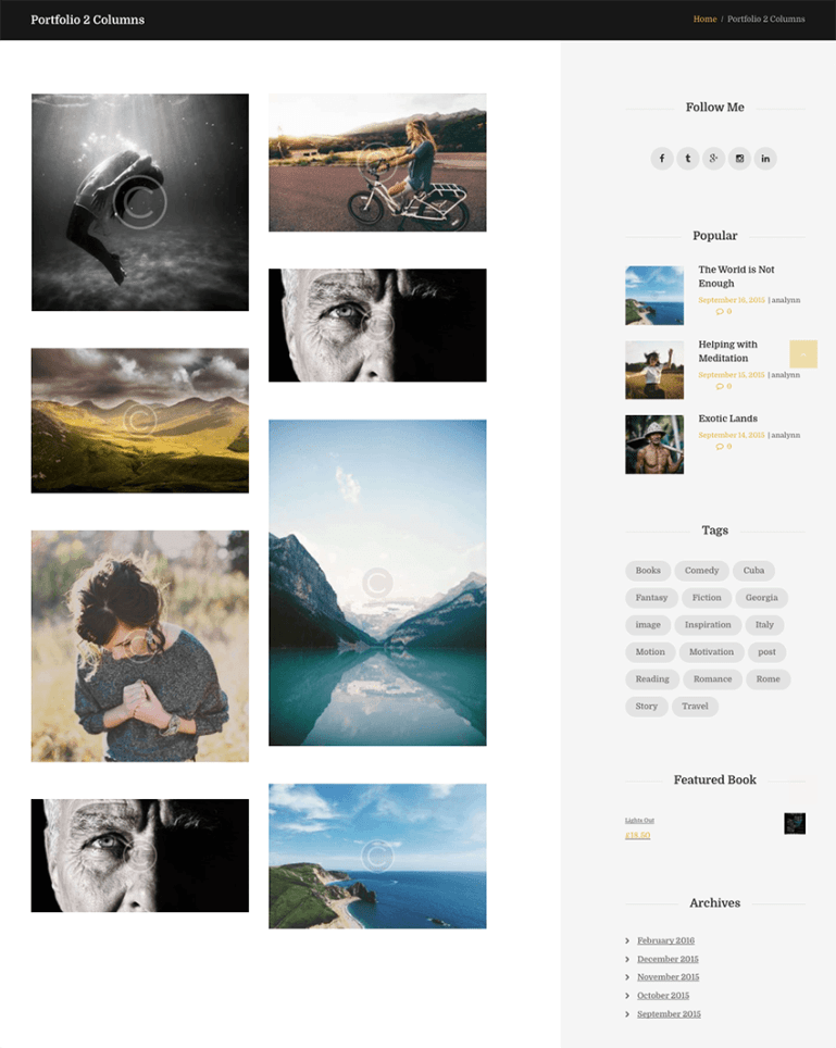 portfolio page from blog writers WordPress theme