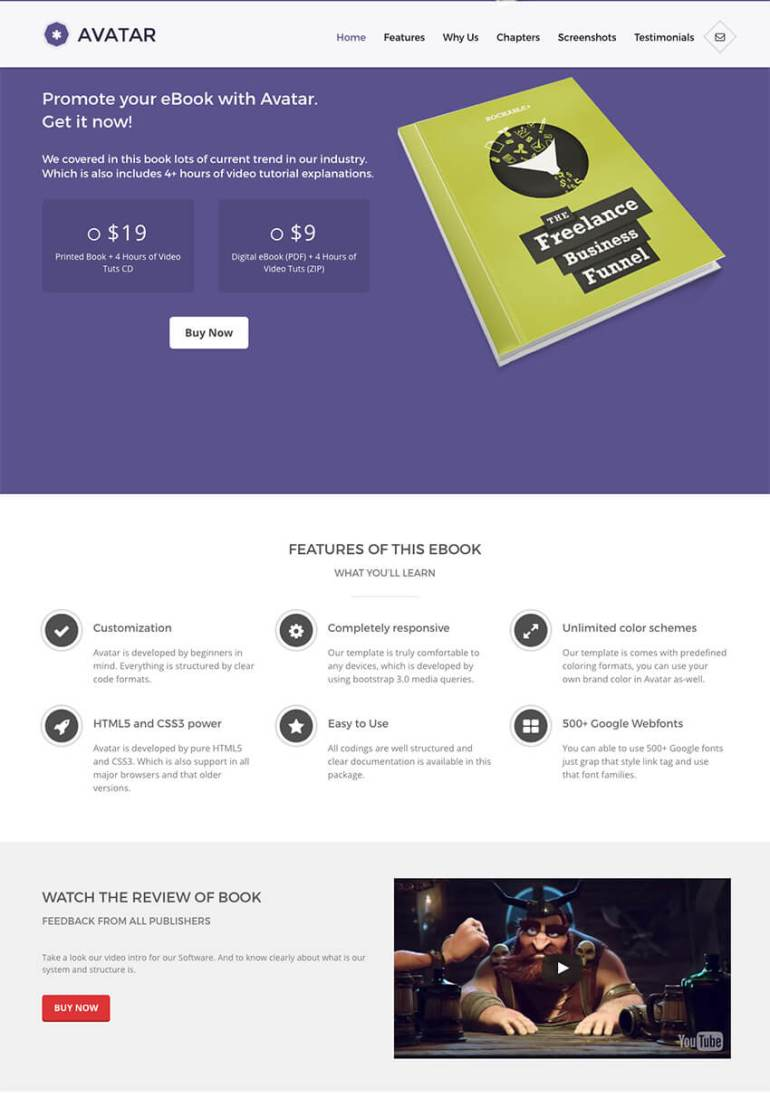 Avatar Modern and Unique WordPress Book Theme