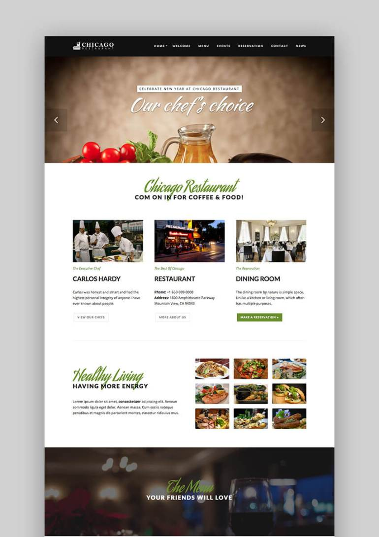 Chicago Premium restaurant WordPress theme design