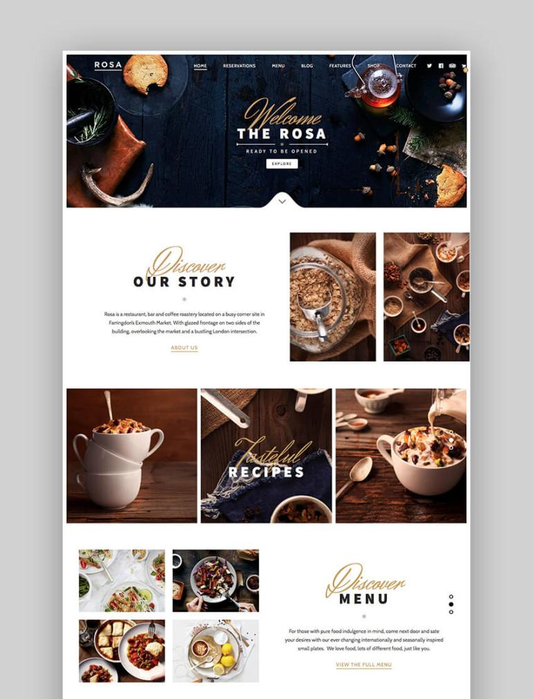 Rose best restaurant WordPress theme