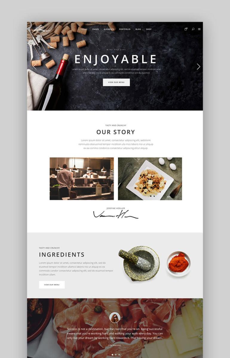 Savory elegant WordPress restaurant theme