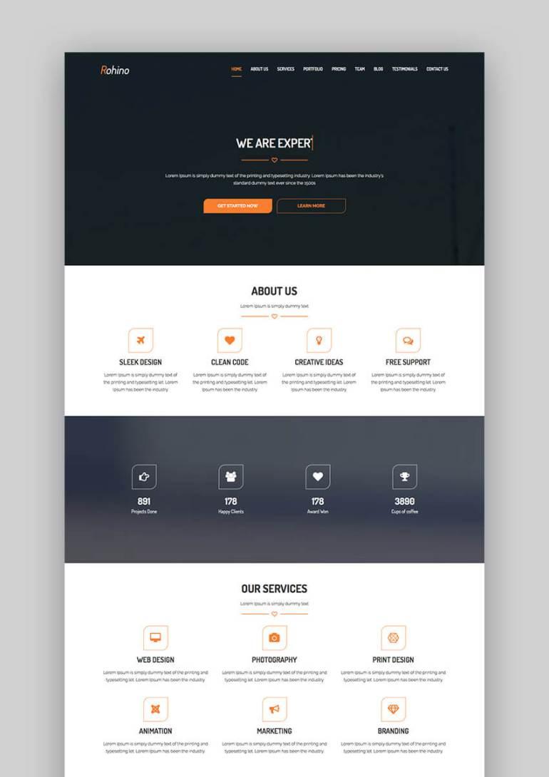 Rohino portfolio WordPress flat theme design