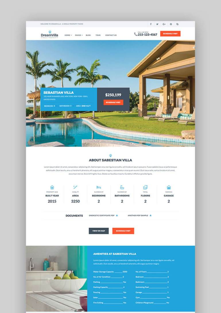 2DreamVilla Stunning Real Estate WordPress Theme