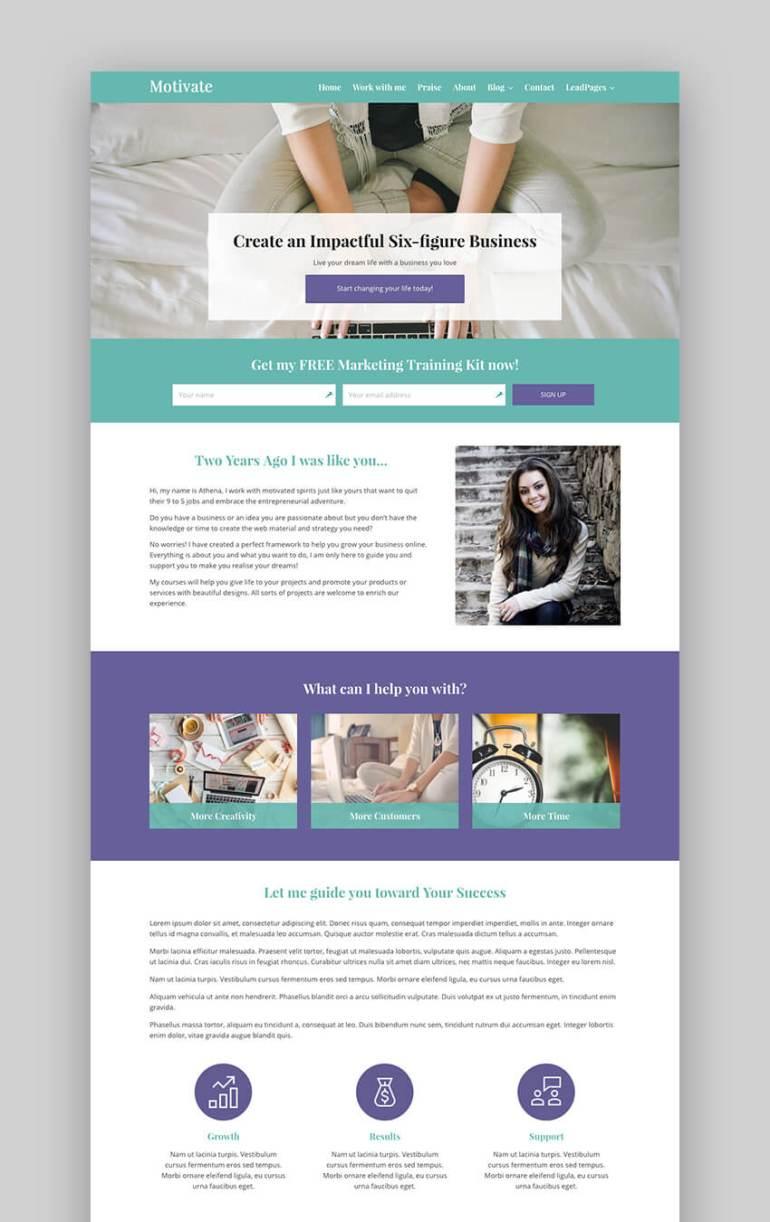Motivate consulting WordPress theme
