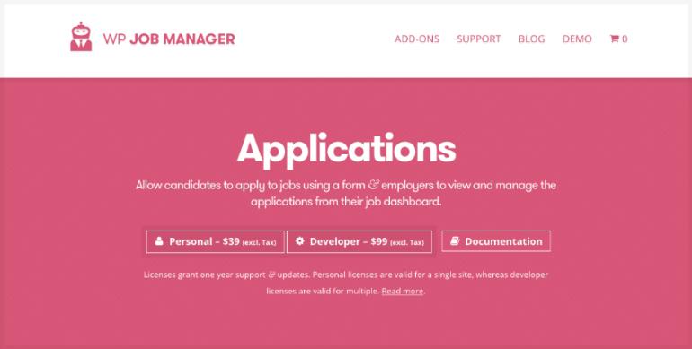 Applications job board plugin WordPress