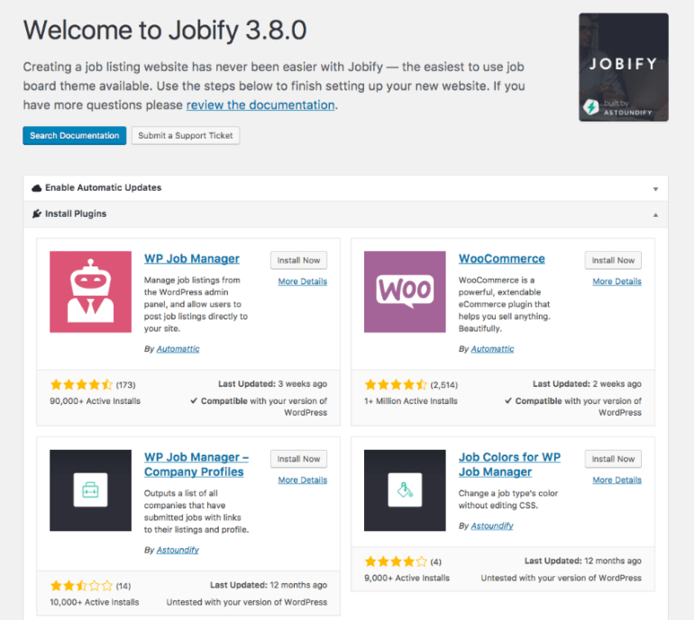 Install Required Plugins for your job board theme