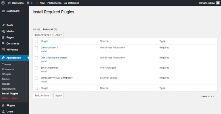 Required WordPress plugins