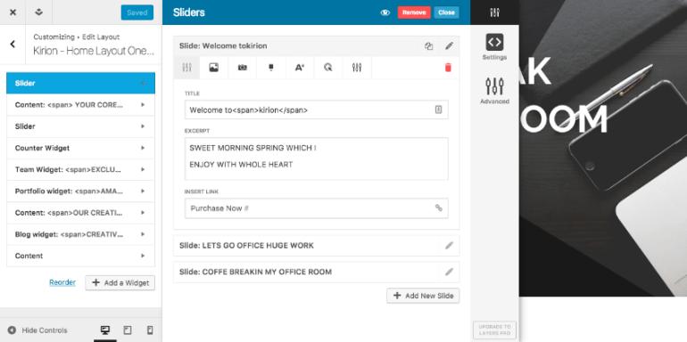 Editing layout in Kirion flat wordpress website theme