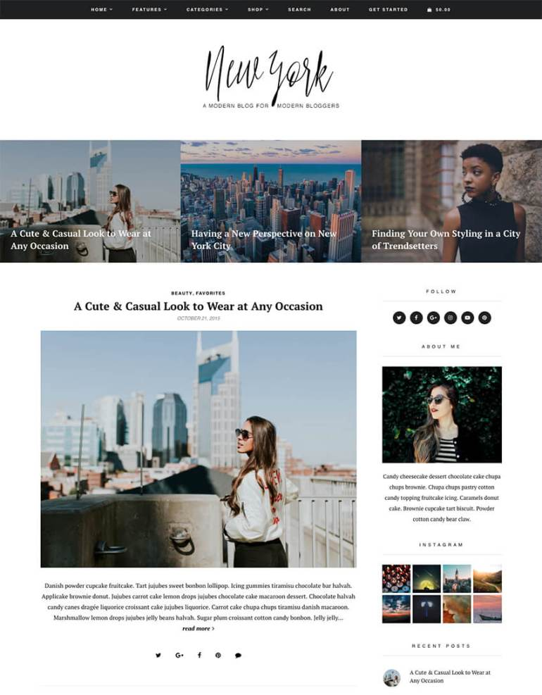 New York WordPress blog theme
