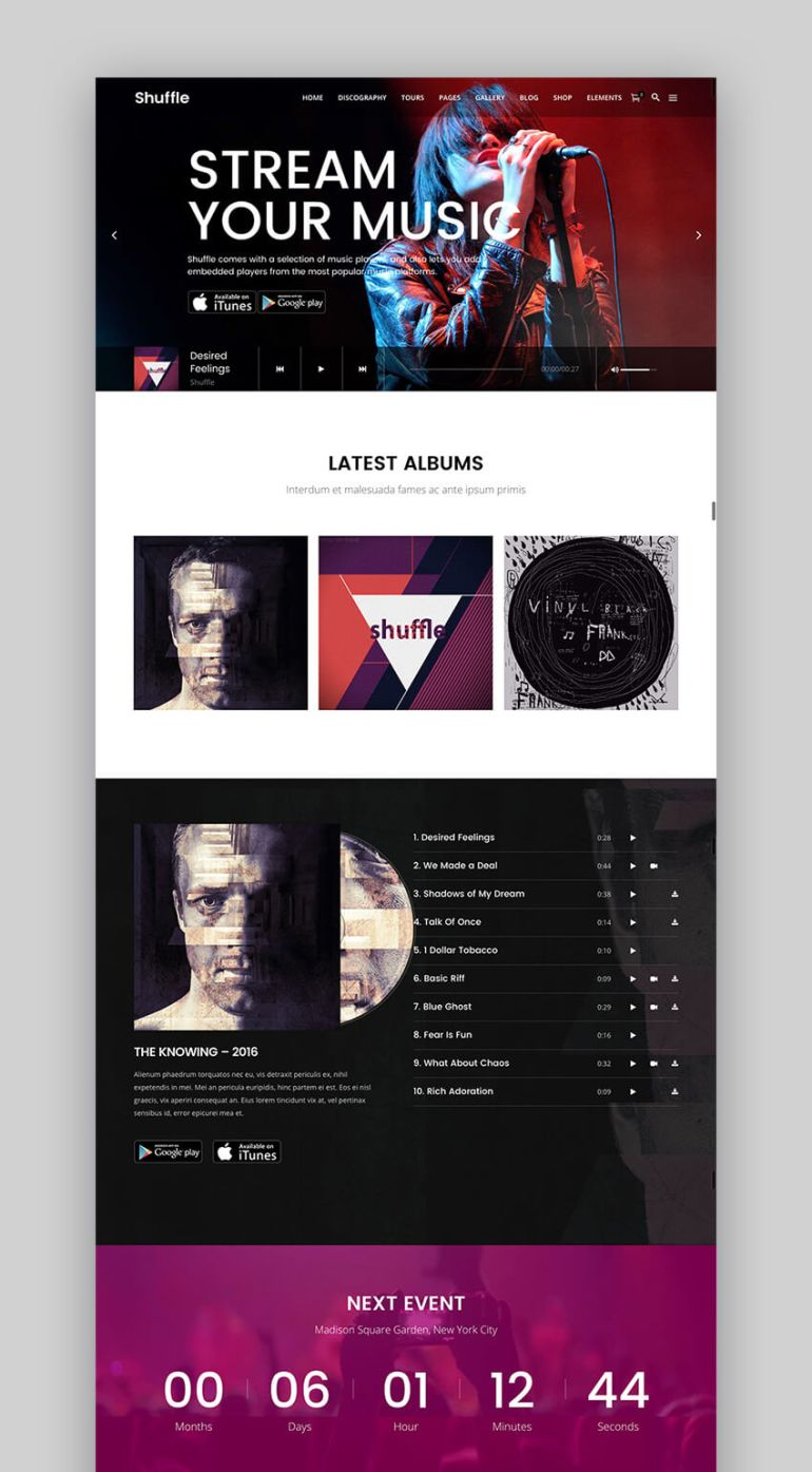 Shuffle all-purpose theme for WordPress music websites