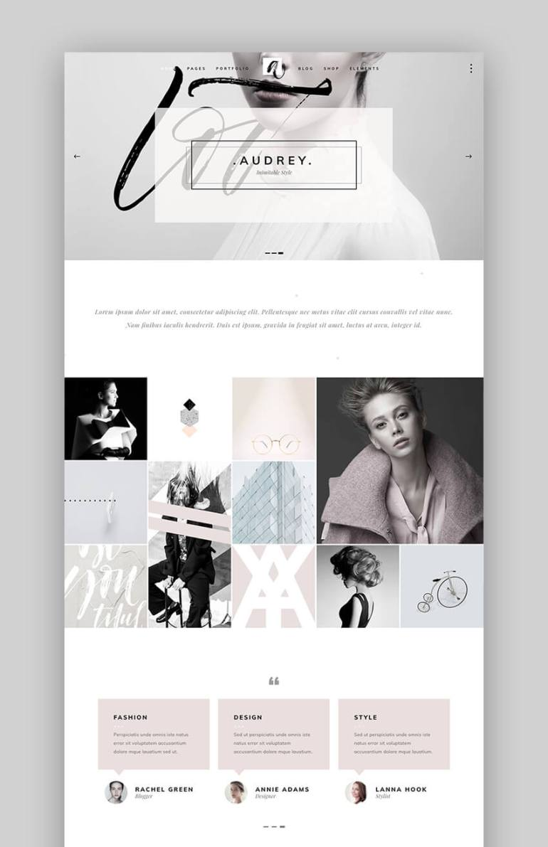 Audrey Fashion designer WordPress theme