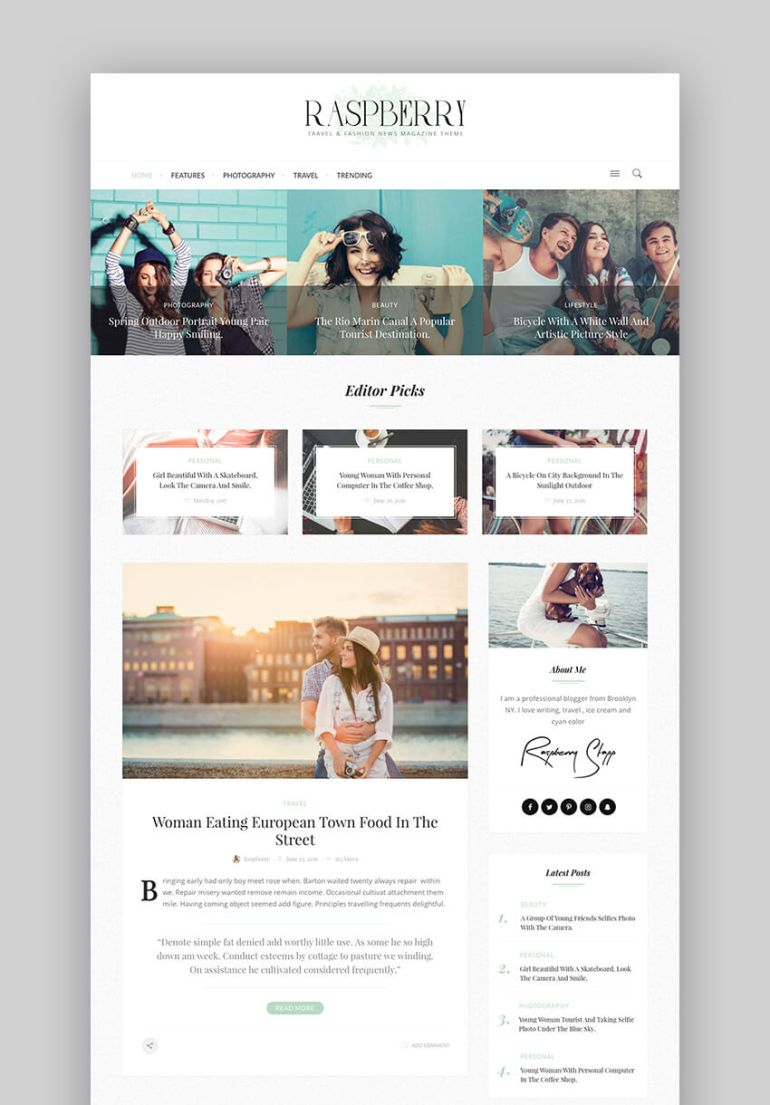 Raspberry WordPress Theme for fashion blogs magazines