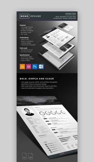 18  Modern Resume Templates With Clean  Elegant  Designs  2018  Mono Resume   Bold Resume Template