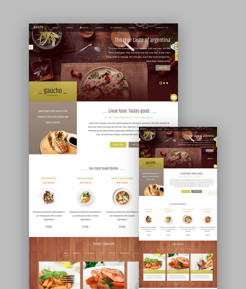 gaucho elegant html template for restaurants and cafes