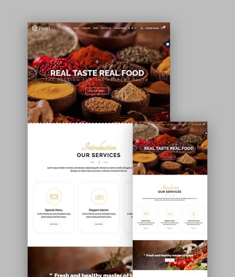 Pearl Parallax Restaurant HTML Template