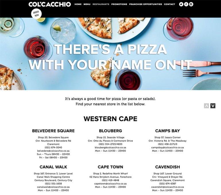 ColCacchio Pizzeria restaurant website