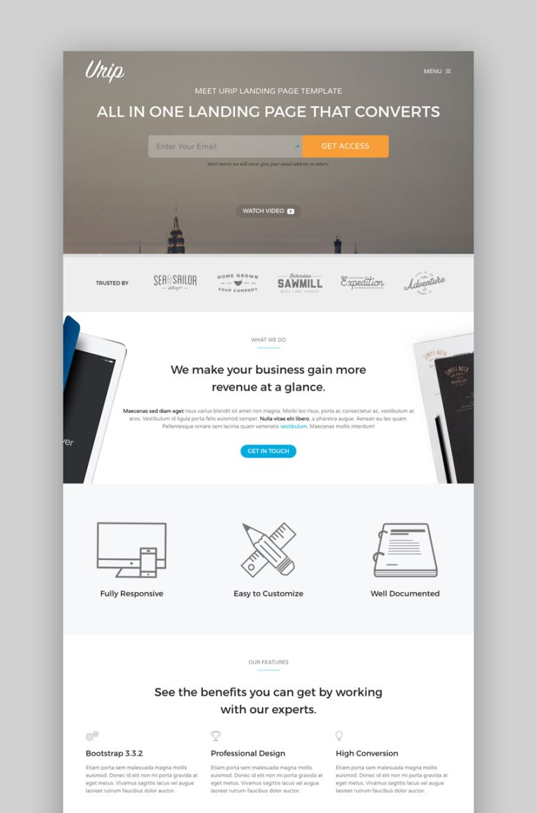 Urip WordPress landing page theme