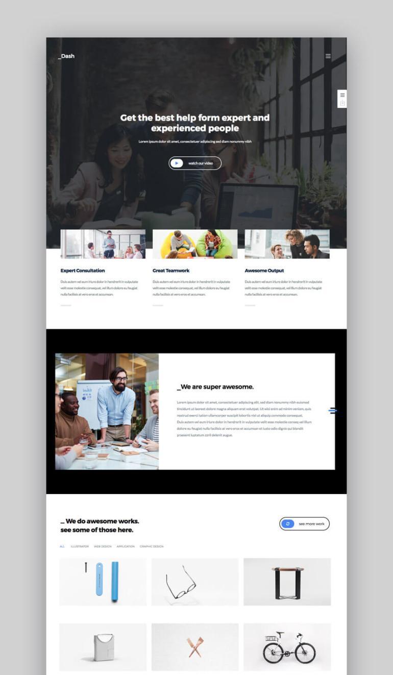 Dash WordPress theme for small business