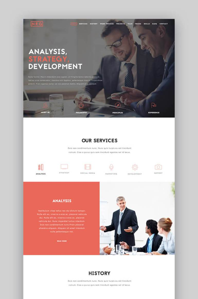 The Business one-page WordPress theme