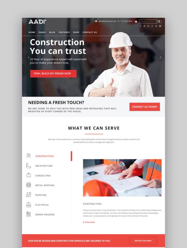 Aadi Construction WordPress theme