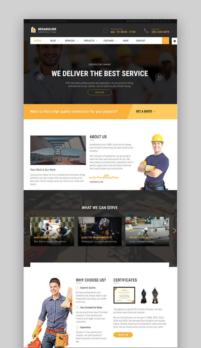 MegaBuilder construction WordPress theme