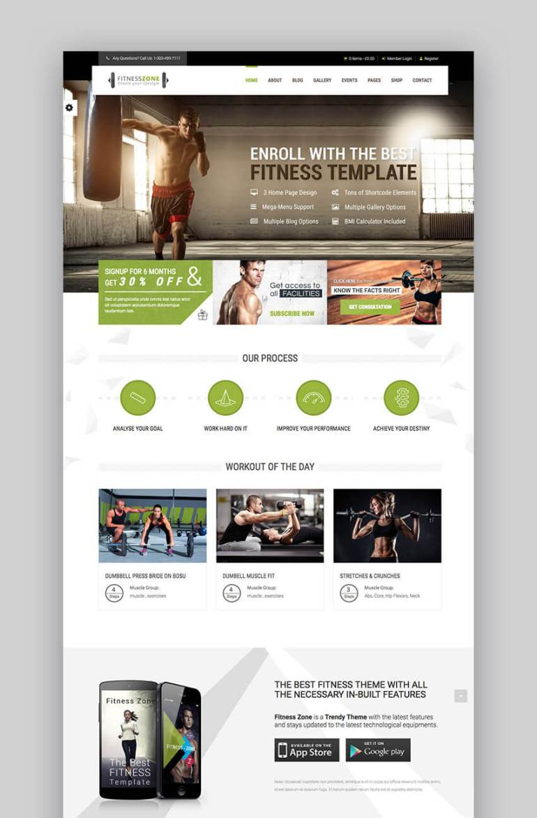 Fitness Zone WordPress theme