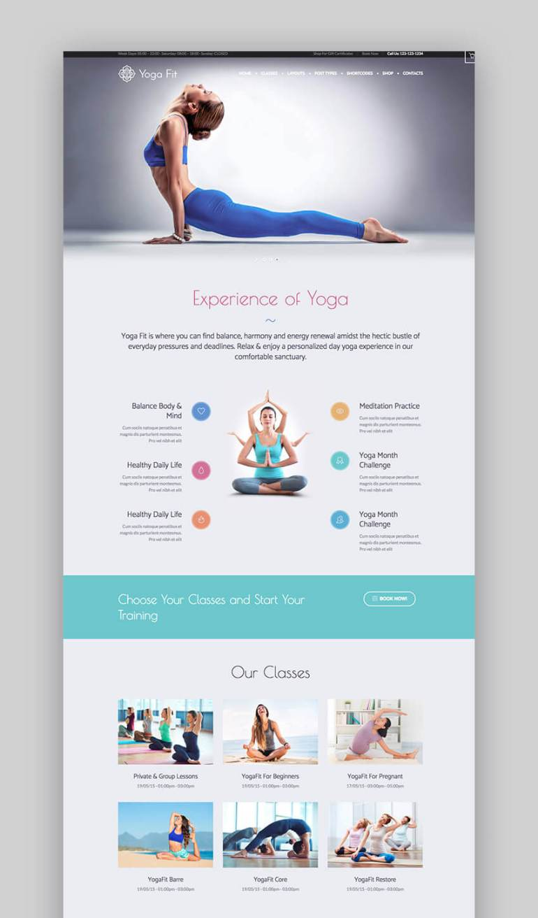 YogaFit yoga and fitness WordPress theme